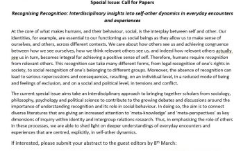 Call for Papers: Special Issue on Recognising Recognition